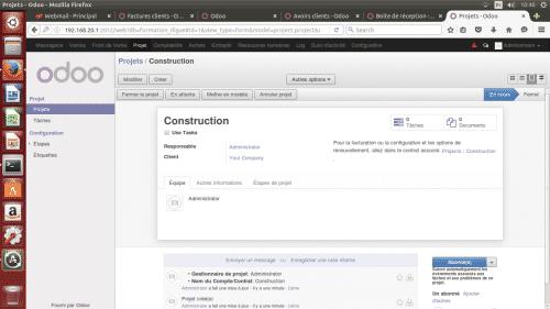 Écran de gestion d'un projet sur un des logiciels de gestion de projet : Odoo